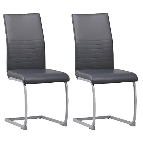 ALBATROS Freischwinger Murano 2-er Set Grau, SGS geprüft, Elegante Esszimmerstühle/Schwingstühle, bequem gepolstert