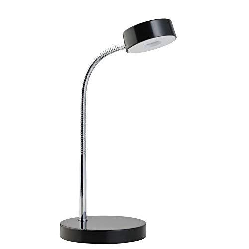Globe Electric 12643 Energy Star Integrated LED Desk Lamp, Matte Black, Chrome Gooseneck, 5 Watts, 250 Lumens