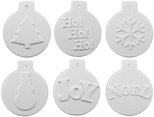 EZ Paint Christmas Ball Ornament Collection - Set of 6 - Host Your Own Ceramic...