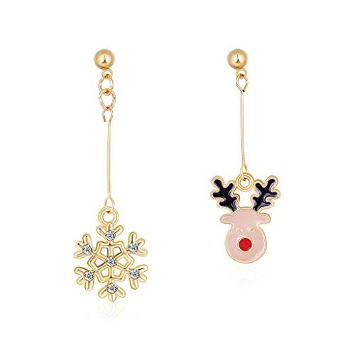 TShopm Earrings Gift for Women Girls, 1 Pair Christmas Earrings Pendant Snowflake Santa Claus Antelope Xmas Tree Ear Drop Dangles Party