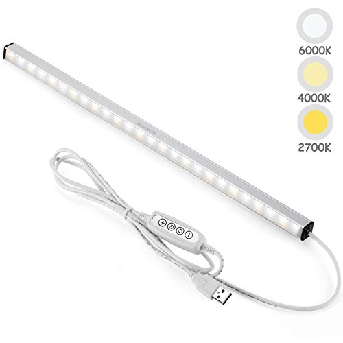 ASOKO LED Under Cabinet Lighting Bar Built-in Magnets, Dimmable, 3 Color Temperature, 14.5inches, USB Powered Counter Lighting Bar, LED Closet Light. (No Plug)