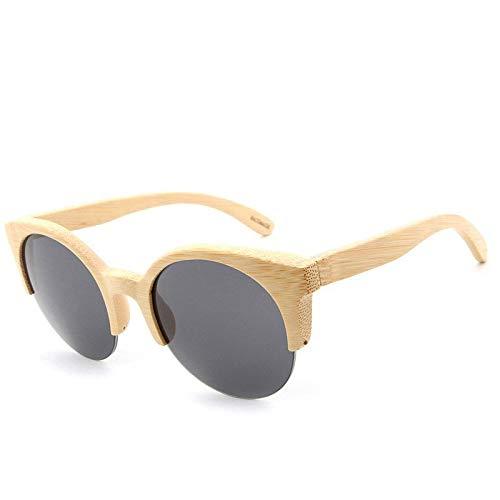 Gafas de Sol Gafas De Sol De Bambú Retro Cat Eye Gafas De Sol De Bambú De Medio Marco Redondo protección para los Ojos (Color : E)