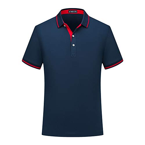 CNROS Men's Short Sleeve Solid Polo Shirt (Dark Blue 2, Large)