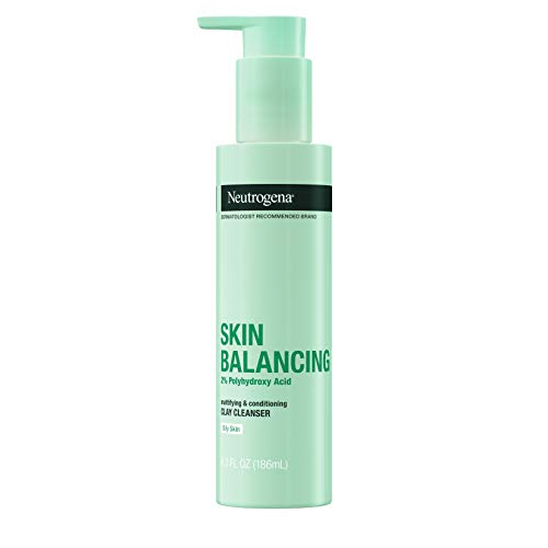 Neutrogena Skin Balancing Kaolin Clay Cleanser with 2% Polyhydroxy Acid (PHA), Mattifying & Conditioning Face Wash for Oily Skin, Paraben-Free, Soap-Free, Sulfate-Free, 6.3 oz