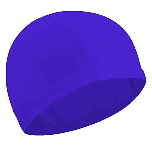 Gorro Elástico de Baño Gorro de Natación Gorro Antideslizante de Piscina Sombrero Flexible de Natación de Nailon para Mujeres Hombres Adultos Jóvenes Baño Natación (Azul Marino)