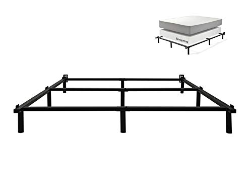 zizin Queen Bed Frame for Box Spring Heavy Duty 3000 lbs Adjustable Mattress Foundation Compack 9Leg Support 7 inch Metal Smartbase Easy Assembly ToolFree Queen