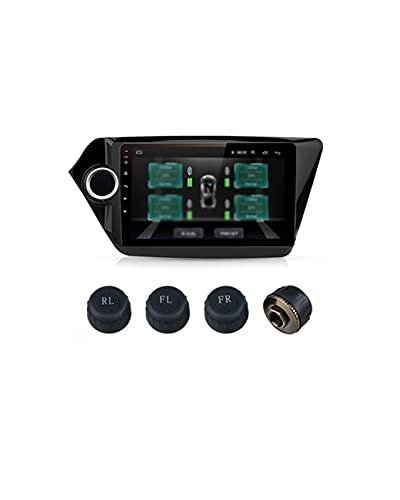 GUOQING Sensores internos de neumáticos Sistema de Alarma de Control de presión de neumáticos con 4 sensores internos Aptos para la navegación del Reproductor Fit For Junsun(Size:External Sensor)
