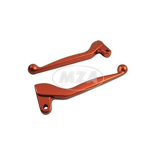 Handhebel SET SIMSON, ALU-massiv, Bremshebel + Kupplungshebel (auch für Ausführung mit Bremslichtschalter), Farbe orange, S51, S53, SR50