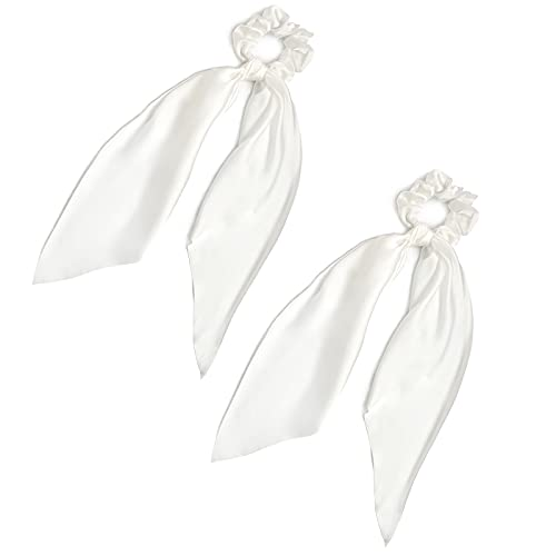 Pack of 2 Knotted Bow Hair Scrunchies Elastic Hair Scarf Black Hair Ties Bands Satin Hair Ribbon Scrunchy Red Ponytail Holder for Women and Girls (White)
