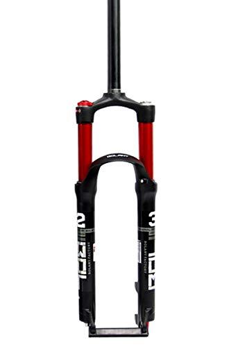 Forcella ammortizzata ultraleggera Bicycle Suspension Fork 26 27.5   29 in mountain bike fork smorzamento dell aria MTB Dritto 1-1   8  Doppia valvola d aria Valvola di aria 100mm freno a disco HL QR