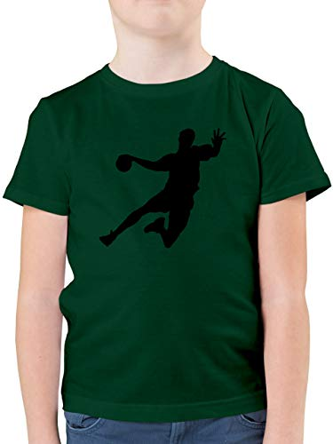 Sport Kind - Handballer - 140 (9/11 Jahre) - Tannengrün - graues t Shirt Jungs 152 - F130K - Kinder Tshirts und T-Shirt für Jungen