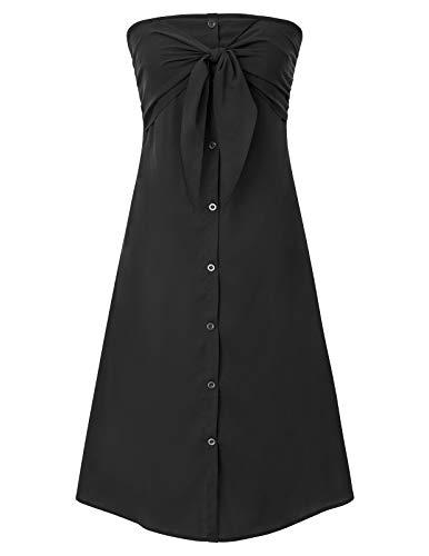 GRACE KARIN Robe de Cocktail Femme Epaules Nue Sexy Robe de Plage Tube Bustier Ete Casual Chic Robe Cache Coeur Noir XL CLS491-1