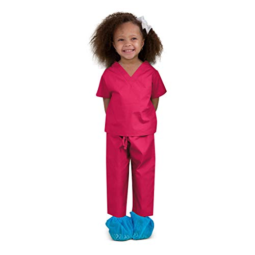 Scoots Kids Scrubs, 100% Cotton, Hot Pink, 4T