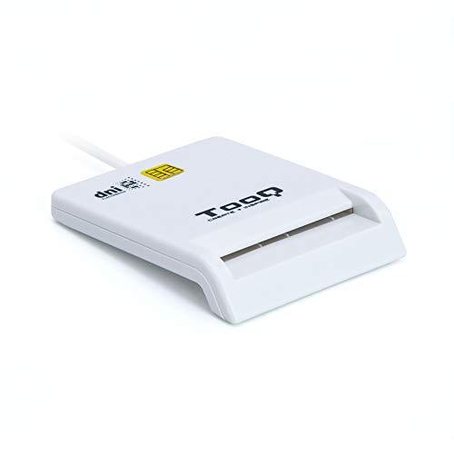 TOOQ TQR-210W - Lector Externo de DNI Electrónico y Tarjetas Inteligentes (DNIe), USB 2.0, Color Blanco, 480 Mbps.
