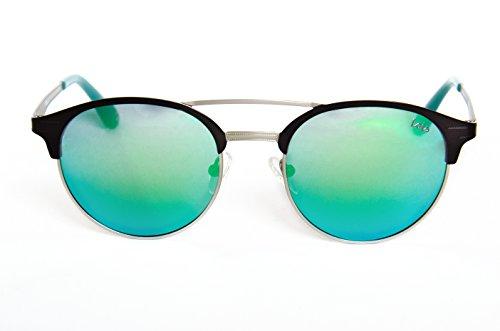 Lois - Mara GRN Green, Gafas de Sol Moda Unisex Metal, Negro/Verde Espejo Polarizada unisex redondas polarizado Verde