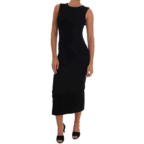 Dolce & Gabbana Abito Lungo In Lana Nero Stretch Slim