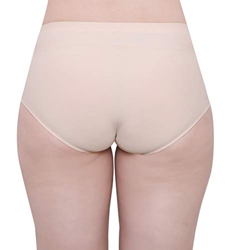 GLAMORAS Womens Nylon Elastane Invisible Seamless Mid-Rise Panties No Show Laser Cut Hipster Brief Underwear, Size-XL, Beige