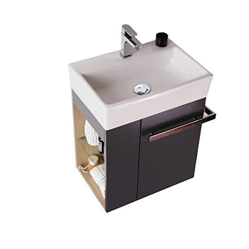 Badmöbel-Set Compact 500 für Gäste-WC - Anthrazit matt - Innen Holz-Optik, Ablaufgarnitur/Pop-up:Mit Ablaufgarnitur
