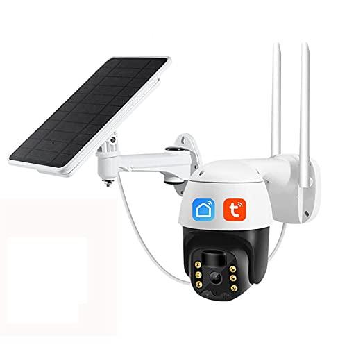 Telecamera ad energia solare, telecamera di sicurezza wireless PTZ 1080P, rilevamento del movimento, audio a 2 vie, memoria SD locale, telecamera esterna impermeabile IP65