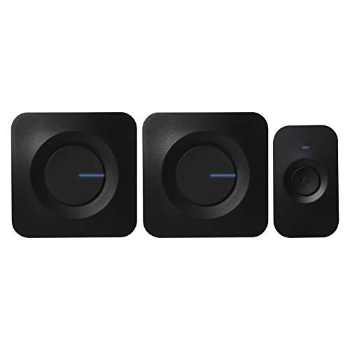 EMOS P5730 Funkklingel mit 2 Klingeln, Türklingel Set mit Klingelknopf und 2 Empfängern, 52 Melodien, 180m Reichweite, 5 Lautstärken bis 90 dB, batteriebetrieben