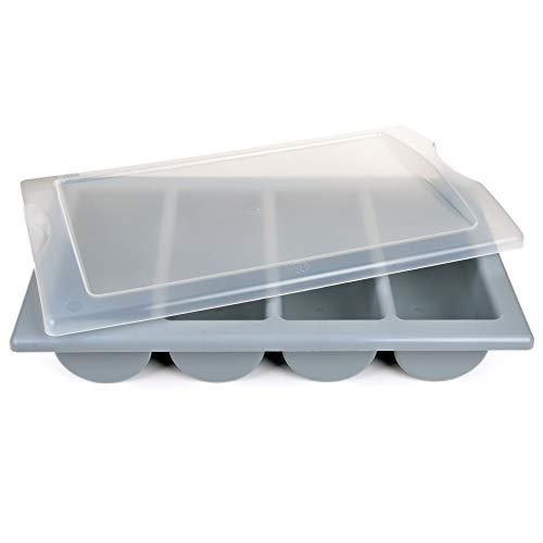 GRÄWE Besteckkasten mit Deckel, leer - Bestecklade mit 4 Fächern, Gastronorm Größe 1/1, groß, stapelbar, spülmaschinengeeignet - Grau