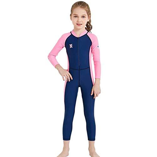 QIAOXINGXING Sommer Neuer Kinder-Tauchanzug im Freien langärmeliger, einteiliger Badeanzug Sonnenschutz schnell trocknender Kinder Badeanzug (Farbe : Female Models Dark Blue, größe : S)