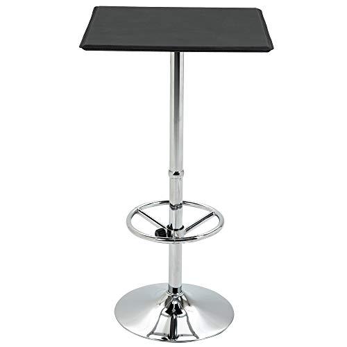 HOMCOM Table de Bar carrée Table Bistro Chic Style Contemporain Repose-Pied Hauteur réglable dim. 64L x 64l x 109H cm métal chromé PU Noir