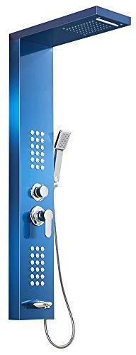 Duschpaneel Duschsäule Edelstahl Wasserfall Regendusche Massagedüsen 5 Farben Sanlingo, Farbe:Blau