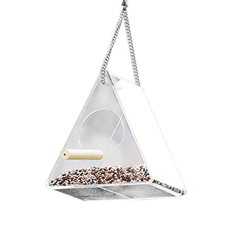 Clear Bird Feeder Triangle Hanging Window Acrylic Feeders Outside Bird House with Standing Pole High Feed Capacity for Close Up View Outdoors Wild Birds