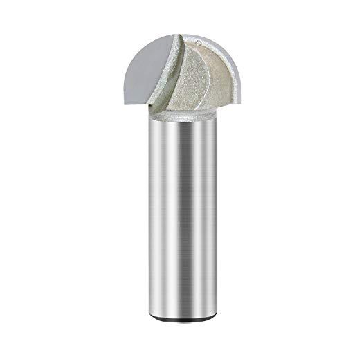Kern-Box-Fräs-Bit, Doppelrillen, Rundnase, Hartmetallbestückt, Holzbearbeitungswerkzeug, Rundnut-Fräser, 1,1 cm Radius x 1,27 cm Durchmesser x 1,27 cm Schaft (1/2 x 7/8)