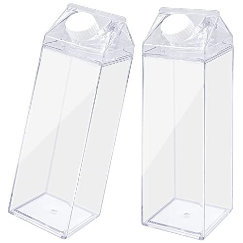 Cisolen Botella de Cartón de Leche 500ml Botella de Leche Transparente Cuadrada para Contener Leche y Jugo Viajes al Aire Libre 2 piezas