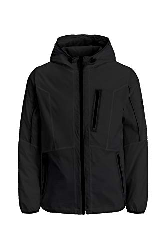 Jack & Jones JCOCARSON Light Jacket Hood STS transición, Negro. Estampado: chaquetas, L para Hombre