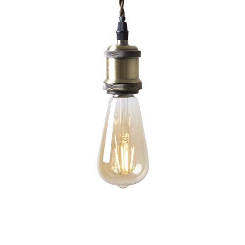 Szbritelight 真鍮 ペンダントライト E26 真鍮メッキ古仕上げ カフェ 古アンティーク紐(引掛シーリング用+LED電球)