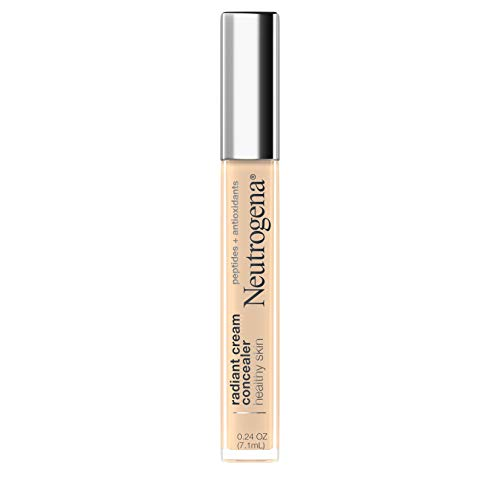 Neutrogena Healthy Skin Radiant Brightening Cream Concealer with Peptides & Vitamin E Antioxidant, Lightweight Perfecting Concealer, Non-Comedogenic, Ivory Light 01 with neutral undertones, 0.24 oz