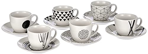 Tognana Graphic Set 6 Tazzine caffè con piattino Coordinato, 80 CC, Altezza 6 cm, New Bone China, Bianco/Nero