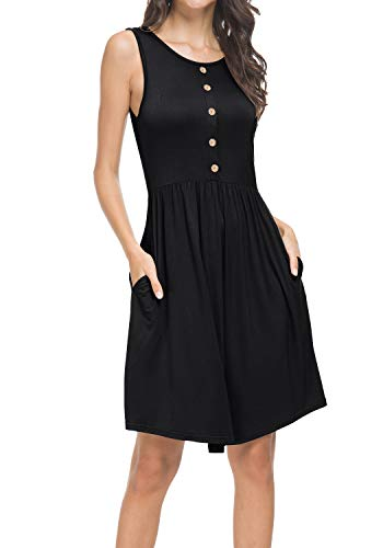 levaca Women Sleeveless Summer Casual Pockets Loose Swing T Shirt Short Dress Black XL