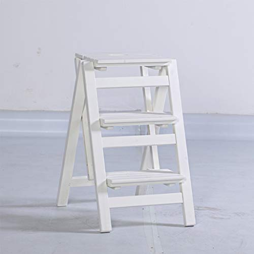 GG.S Escalera Plegable De Madera For El Hogar Taburete Plegable Escalera Portátil De 3 Capas (Color : White)