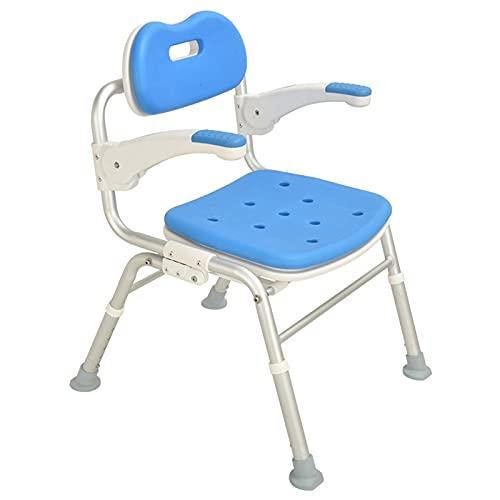 Silla de baño Plegable portátil Asiento de baño Ajustable con apoyabrazos Aleación de Aluminio Taburete de baño accesible para discapacitados Seguro y cómodo con Respaldo y cojín de Espuma EVA