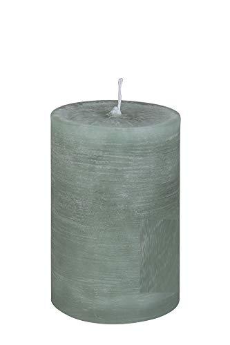 Rustic Stumpenkerze Stumpen Kerzen durchgefärbt Pastell Grün 10 x 6 cm, 1 Stück