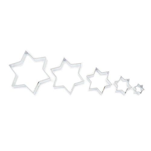 Coupeur / emporte-pièces - ensemble de 5 étoiles - 1,7 - 7,8 cm - acier inoxydable.