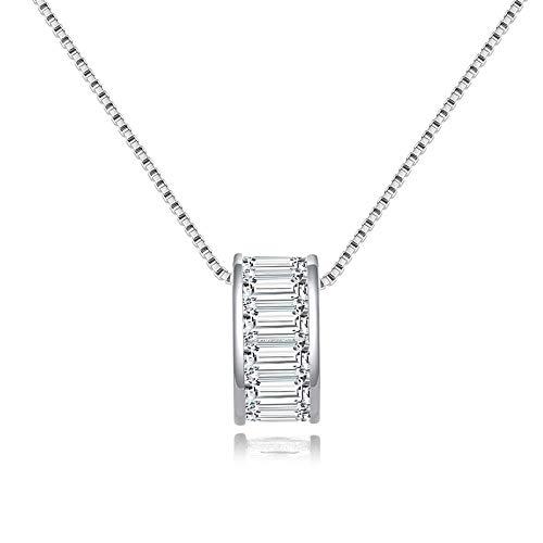 Collar de plata de ley con colgante de circonita cúbica para mujer SN178-P