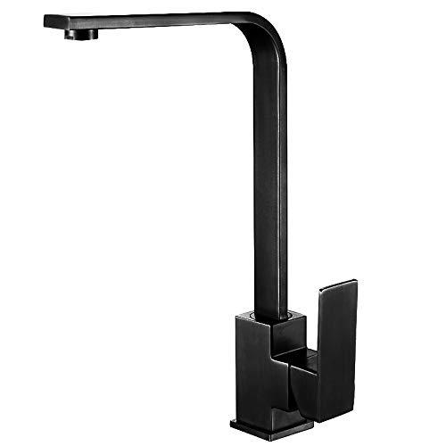 IBalodys - Grifo mezclador para fregadero de acero inoxidable con un solo agujero, color negro
