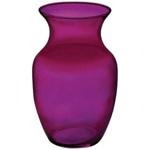 """Silk Flower Arrangements Floral Supply Online 8"""" Purple 999 Rose Vase- Decorative Glass Flower Vase for Floral Arrangements, Weddings, Home Decor or Office."""