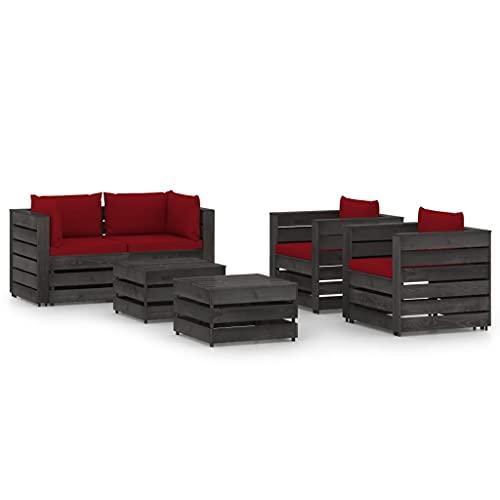vidaXL Madera Impregnada Muebles de Jardín 6 Piezas con Cojines Mobiliario Exterior Terraza Balcón Hogar Cocina Mesa Silla Asiento Gris