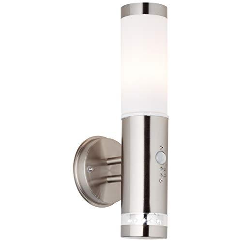 Außenwandleuchte mit Bewegungsmelder inkl. LED Ring mit Dämmerungsschalter, 1x E27 max. 60W, Metall/Kunststoff, edelstahl