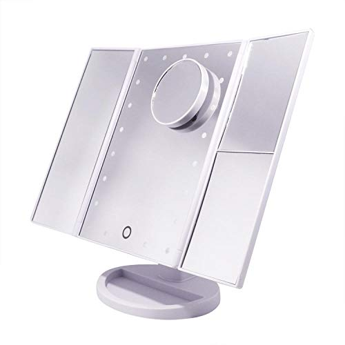 Leeslamp bedlampje tafellamp tafellamp tafellamp tafellamp tafellamp tafelbladmake-up inductie geleid de heldere make-up spiegel met de opgegeven vergrootglas van de zuignap 10X