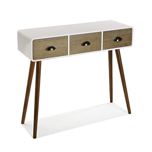 Versa Bourne Tavolo Consolle, Tavolo da Ingresso, Tavolino Stretto, con 3 cajones, Misure (A x L x l) 80,5 x 30 x 90 cm, Legno, Colore Bianco