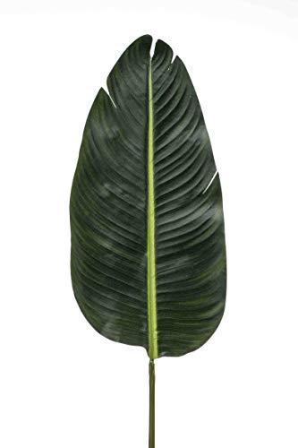 artplants.de Foglia di Strelitzia Finta Woolf, Verde, 115cm - Strelizia Artificiale - Foglia Finta