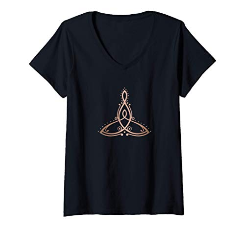 Womens Mother's Day Celtic Knot Trinity Symbol mother with child V-Neck T-Shirt