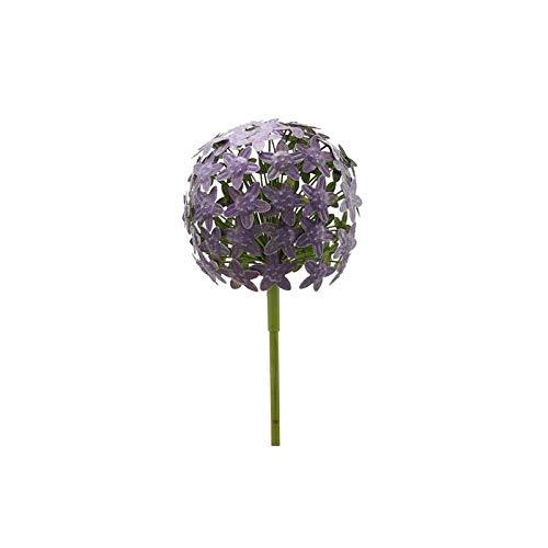 L'Héritier Du Temps Fleur d'Allium sur Tige Décoration Florale pour Jardin Massif ou Pot de Fleur en Métal Coloré Vert et Violet 20x20x116cm